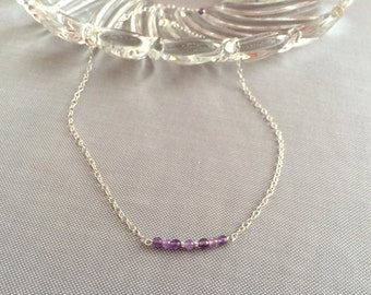 Amethyst bar necklace. Sterling silver filled chain, gemstone bar necklace. Delicate necklace, minimal necklace. Amethyst necklace bar.