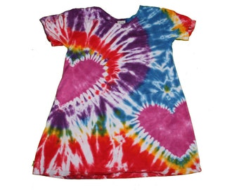 Tie Dye Dress in Rainbow Colors with Magenta Hearts