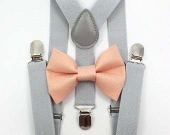 FREE DOMESTIC SHIPPING! Light gray suspenders  + Peach Bow tie toddler kids boy boys Adult holidays photos family photoshoot