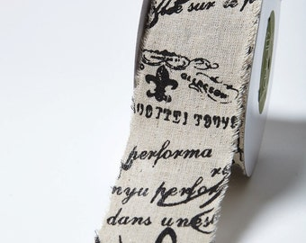 French Text Ribbon - 2.5 Inch Cotton Ribbon Linen Blend w/ Vintage Inspired Print - 468 25 10 - Priced by the Yard