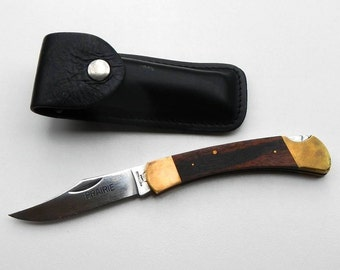 Prairie 440 Stainless Vintage Folding Single Blade Knife With Black Leather Case