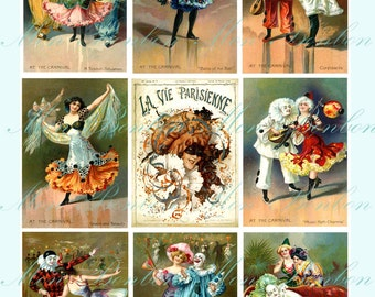 Digital Collage Sheet of Vintage Carnival Images - perfect for Pocket Letters too - INSTANT DOWNLOAD