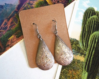 Vintage .925 Sterling Silver Mexican Teardrop Earrings Large Dangle Southwestern Cowgirl Desert