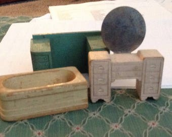 Old Art Deco Wooden Dollhouse Furniture