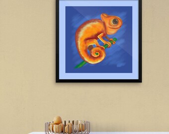 "Framed Cute Animal Illustration ""Orange Chameleon"" by Malinee Ganahl. Fine Art Lustre Print.  Whimsical drawing on blue."