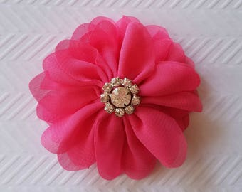 "Hot  Pink Chiffon Flowers. 3"" Chiffon Flowers with Glass Rhinestone Center. QTY: 1 Flower  ~Brea Collection"