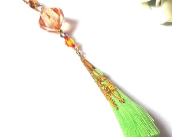 Green Necklace - Gold Necklace - Orange Necklace - Necklace with Tassel - Gift for her - Gift for women