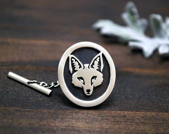Coyote Tie Tack - Sterling Silver - Oval Coyote Face - Mens Tie Accessories - Gift for Him