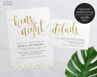 Gold Bachelorette Party Invitation | Printable | Editable PDF | Gold Hens Night Invitation | Gold Hens Party | Gold Foil | Details Card