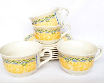 Herat breakfast cups and saucers - Churchill Ports of Call - set of four - Jeff Banks