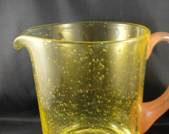 Yellow Bubble Glass Pitcher with Applied Orange/Brown Handle