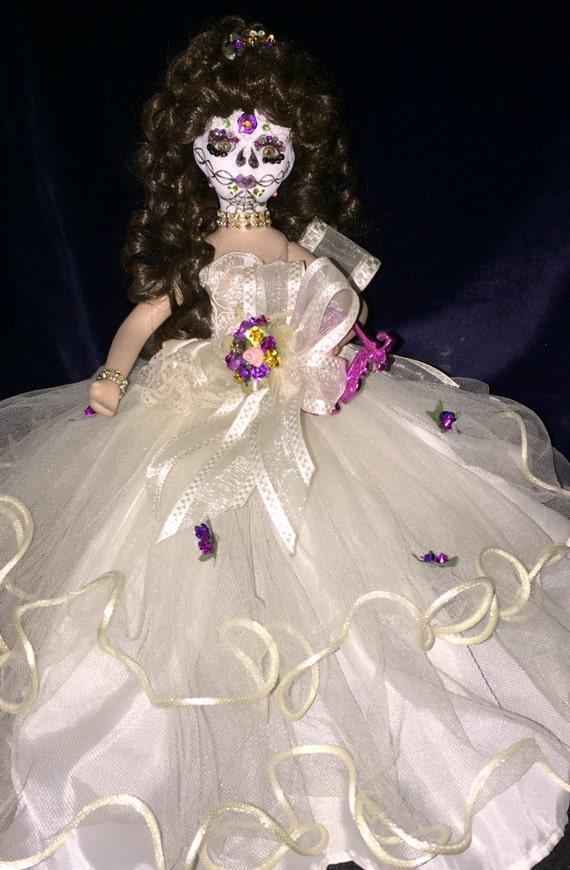 Anjelah Xi Balba Original Undead Sugar Skull Day Of The Dead Porcelain Quinceanera Biohazard Baby