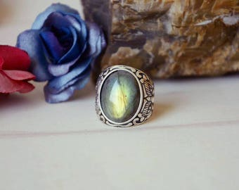 Labradorite Stone Ring,Unique Mens Crystals Ring,Lake Green,Sterling Silver Ring,Adjustable Size,Gift For Men LR80118162