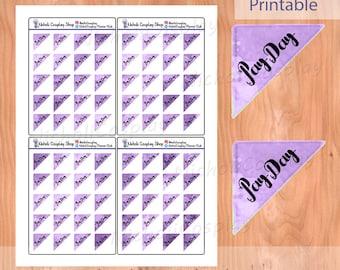 Purple Gold Payday Marker Flag Sticker Set, Printable Planner, diy Erin Condren, clip art, Filofax, Midori, functional