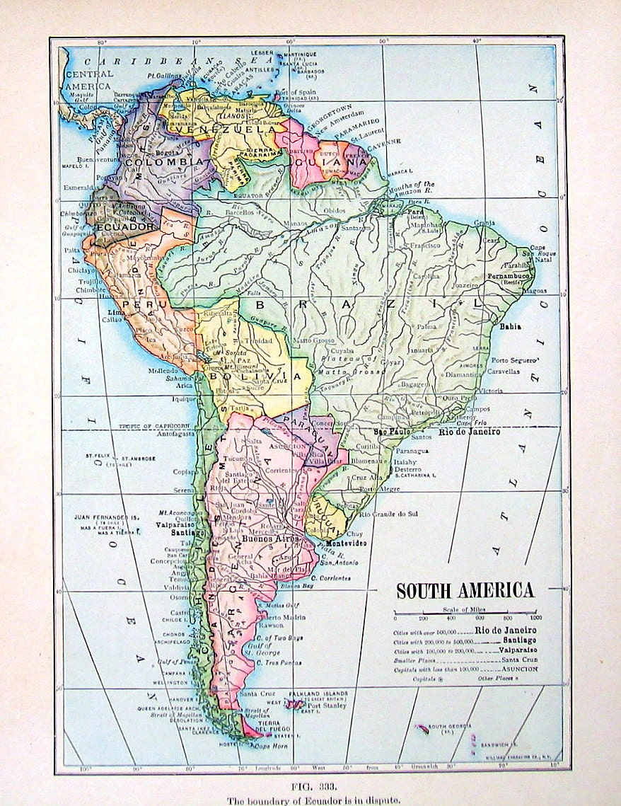 South america map antique 1910 world atlas book plate 9 zoom gumiabroncs Image collections