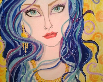 Woman In Blue and Gold ACEO/ATC Artist Trading Card Fantasy Face by Leslie Mehl