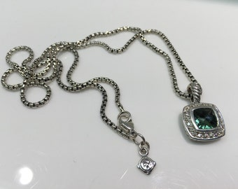 Pre-Owned David Yurman Petite Albion Pendant Necklace with Prasiolite and Diamonds, DY, David Yurman, Prasiolite, Green Amethyst