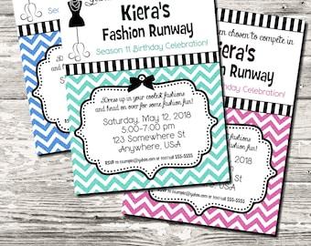 Glitter Chevron Fashion Runway Fashion Birthday Invitation 10 Color Choices Digital Printable