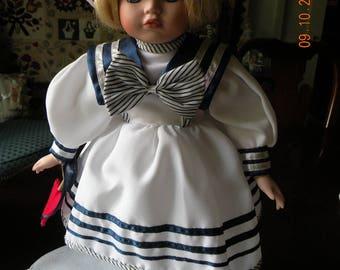Porcelain Bisque Little Girl Sailor Doll