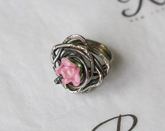 Glasswork Rose 925 Sterling Silver Ring (0311)