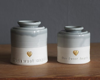 custom infant urn. gold infilled stamp, lid and quote, straight shaped urn with custom name. modern urn for ashes. funerary infant urn f1 f2