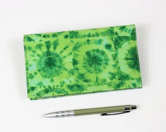 Green Checkbook Cover for Duplicate Checks with Pen Holder, Tie-Dyed Check Book Cover, Green Cheque Book