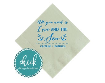 All You Need is Love and the Sea Beverage Napkins Wedding Decor Fun Wedding Party Gifts Wedding Anniversary Party Gifts Custom 2D317b
