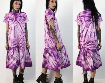 80's Tie Dye Upcycled Drop Waist Tee Shirt Dress Medium/Large - Purple Pink Funky Weird Ruffle Statement T-Shirt Midi Dress - Tie Dye Swirl