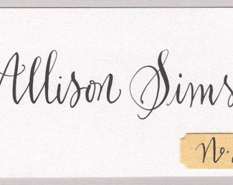 Calligraphie carte de place table numéros tags pour mariage