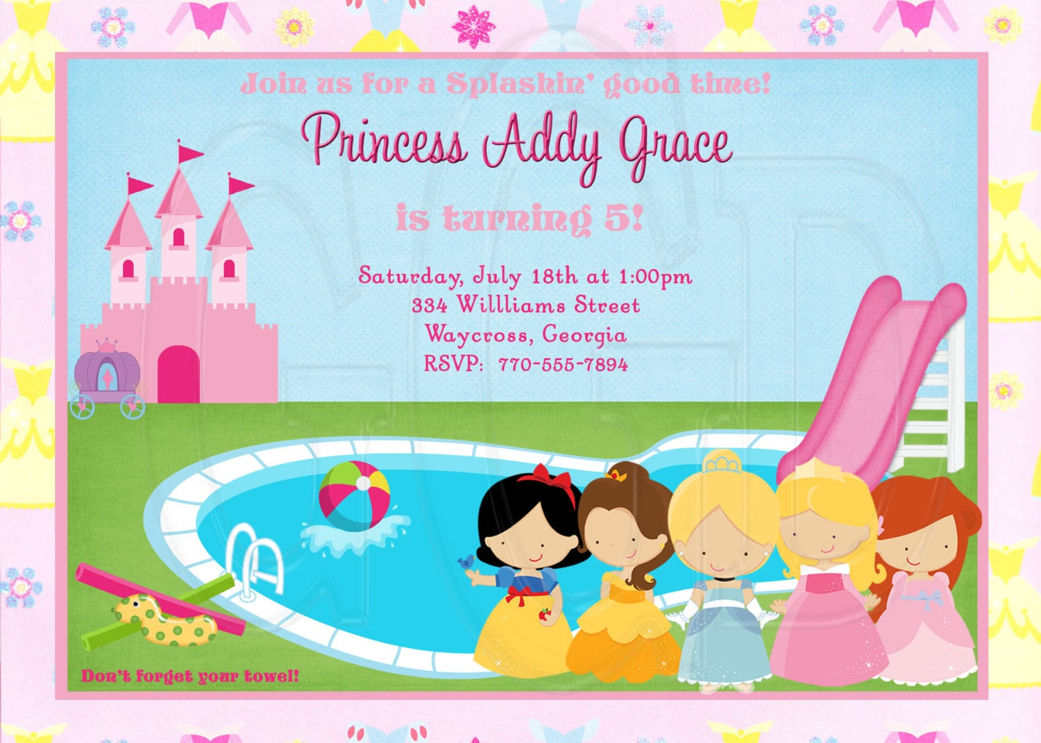 Princess Pool Party Invitation Princess swim party Princess