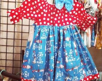 Dr. Seuss Dress - Cat in The Hat Birthday - Dr. Seuss Birthday - Peasant Dress - Girls Birthday Dress - Groovy Gurlz