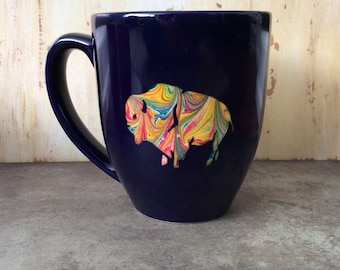 Marbled ceramic bison mug