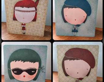 Set of 4 greeting cards the little Parisienne original designs with envelopes