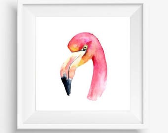Flamingo Art Print, Flamingo Wall Art, Flamingo Printable, Flamingo Home Decor, Watercolor Flamingo, Pink Watercolor Print, Pink Flamingo