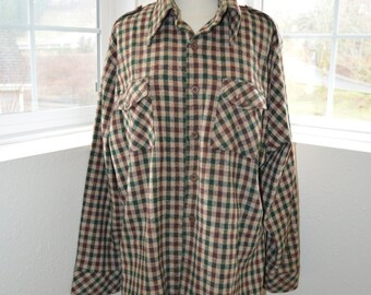 Men's Checked Green and Maroon Wool 'Country Classics by Lord Jeff' Shirt - Men's L