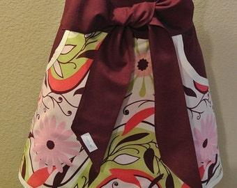 Mulit Color (Pinks/burgundy/Lime/Cream trimmed in Burgundy Adult Half Apron with Pockets