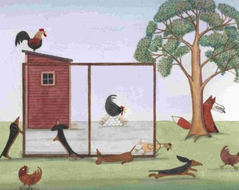 Dachshunds (doxies) chasing chickens and roosters / Lynch signed folk art print
