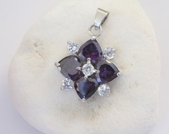 Beautiful Amethyst Pendant with Amethyst and Cubic Zirconia in 18K White Gold Plated Pendant, Genuine Amethyst Gemstone Pendant (PP-123)