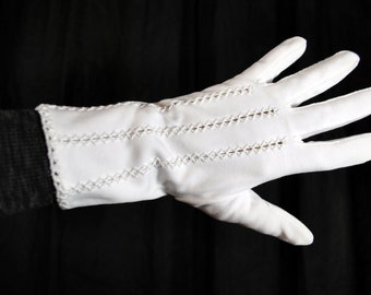 Vintage White Cotton gloves with Openwork Embroidery Channels