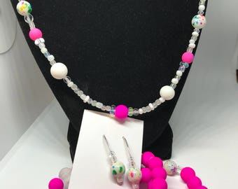 Women's Fucshia White Bead Jewelry Set Fruity Pebbles- Beautiful Gift for Her