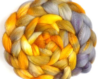Roving Organic Polwarth and Bombyx Silk Handdyed Combed Top - Gold Rush, 5.3 oz.
