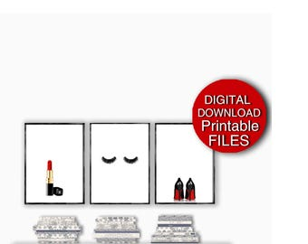Printable Fashion Wall Art, Set of 3 Prints, Makeup Wall Decor