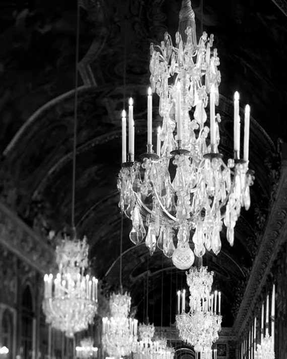 Chandelier print versailles photo black and white