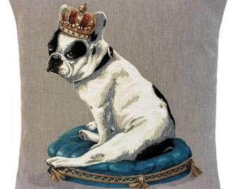 French Bulldog Pillow - Boston Terrier Gift - 18x18 Belgian Tapestry Cushion Cover - Bulldog Lover Gift - PC-5658