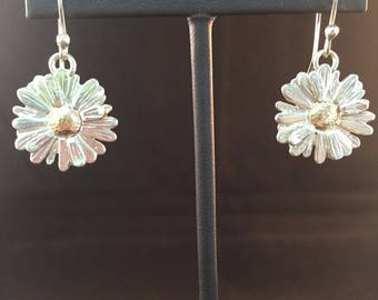 Marguerite Daisy Earrings on Fish Hooks Sterling Silver and 10k Gold