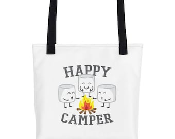 Happy Camper Marshmallows Water Resistant Tote Bag