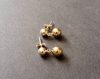 14k yellow gold filled post earrings, gold stud earrings, medium and large ball