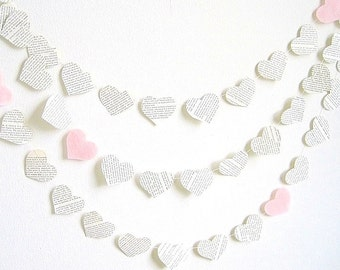Paper heart garland, light pink upcycled book paper garland, baby shower party decor