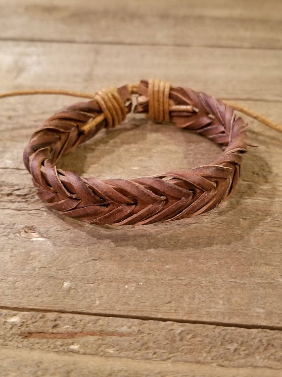 Brown Leather Hand Weaved Adjustable Bracelet Native American Style Fashion Cuff Boho Hippie (B76)