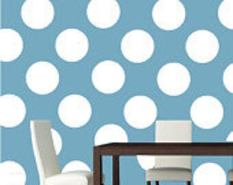 10 inch White Polka Dot Vinyl Wall Decals / Kids Room Wall Decal / Nursery Wall Decal / Bedroom Wall Decal / Dining Room Wall Decal